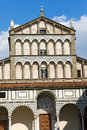 Cathedral of san zeno pistoia italy detail the facade the st x century in piazza duomo square tuscany Royalty Free Stock Images