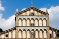 Cathedral of san zeno pistoia italy detail the facade the st x century in piazza duomo square tuscany Royalty Free Stock Photo