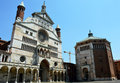 Cathedral of Santa Maria Assunta with the bell tower Torrazzo and the baptistery in Cremona, Italy Royalty Free Stock Photo