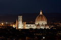 Cathedral santa maria del fiore in florence italy by evening night view of firenze Royalty Free Stock Photos