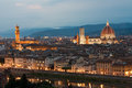 Cathedral santa maria del fiore palazzo vecchio and arno river night view of in firenze Stock Image