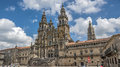 Cathedral of santiago de compostela spain clear sunny day the sky white clouds float Stock Photo