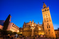 The cathedral of Seville and la Giralda by night, Andalusia Royalty Free Stock Photo