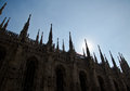 Cathedral silhouette milan s on sunset one of the largest churches in the world Stock Photos