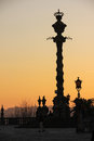 Cathedral silhouetted pillory porto portugal the of the pelourinho da se at sunset Stock Images