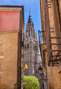 Cathedral Spire Tower Narrow Streets Toledo Spain Royalty Free Stock Photo