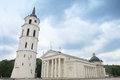 The cathedral square belfry tower in central vilnius on couldy sky before it rains vilnius lithuania august Stock Images