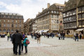 The cathedral square in strasbourg with tourists it is around s is always filled Royalty Free Stock Image