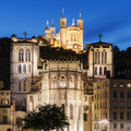 Cathedral of St. Jean and The Basilica Notre Dame de fourviere i Royalty Free Stock Photo