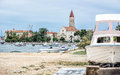 Cathedral of St. Lawrence, harbor and broken ship in Trogir, Cro Royalty Free Stock Photo