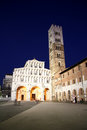 Cathedral of st martin in lucca at night the romanesque san martino tuscany italy the construction the church started Stock Photo