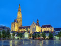 Cathedral and statue of peter paul rubens in antwerp at evening our lady belgium Royalty Free Stock Photo