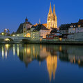 Cathedral and Stone Bridge in Regensburg at evening, Germany Royalty Free Stock Photo