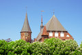 Cathedral tower at blossoming gothic and roof behind chestnut trees in kaliningrad russia Stock Image