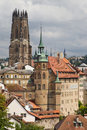 Cathedral and town hall of fribourg saint nicholas switzerland Royalty Free Stock Image