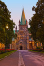 Cathedral in trondheim norway at sunset architecture background Royalty Free Stock Image