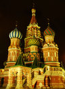 Cathedral of vasily the blessed moscow russia at night red square Royalty Free Stock Photo