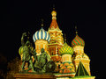 Cathedral of vasily the blessed at night moscow russia red square Royalty Free Stock Photo