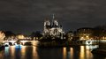 Cathedrale Notre Dame de Paris at night Royalty Free Stock Photo