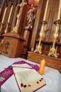 Catholic altar in church. Open Bible Royalty Free Stock Photography