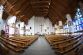The catholic church interior fisheye view in poland Stock Photography