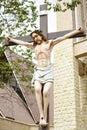 Catholic church and Jesus Christ on crucifix. Royalty Free Stock Photo