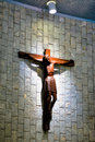 Catholic church and Jesus Christ on crucifix Royalty Free Stock Photo