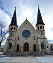 Catholic church this is a picture of st mary s roman in evanston illinois this limestone was built in this picture was Royalty Free Stock Image