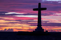 Catholic cross silhouette in the sunken cemetery at dusk camiguin island philippines Stock Images