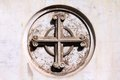 Catholic cross symbol on a grave in campo verano cemetery rome italy Royalty Free Stock Photo
