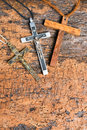 Catholic crosses in metal for nuns and wooden for monks Royalty Free Stock Images