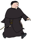 Catholic monk angry walking purposefully Royalty Free Stock Photography