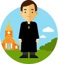 Catholic Priest On Church Back...