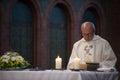 Catholic priest reads holy bible Royalty Free Stock Photo