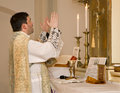 Catholic priest at tridentine mass Royalty Free Stock Image