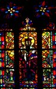 Catholic saint on stained window in polish church Royalty Free Stock Images