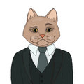 Catman in a business suit and tie. The cat man is the boss. Biggie vector illustration.