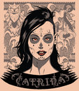 Catrina portrait of a woman and some vector elements Stock Photo