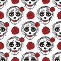 Catrina woman with make up of sugar skull. Seamless pattern. Dia de los muertos. Mexican Day of the dead. Vector Royalty Free Stock Photo