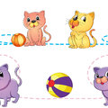 Cats and ball illustration of a on a white background Stock Photo