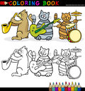 Cats Band for Coloring Book or Page Stock Images