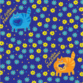 Cats on a blue background with flowers Royalty Free Stock Photos