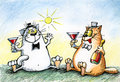 Cats are celebrating with alcohol
