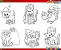 Cats on Christmas time set coloring book Royalty Free Stock Photo
