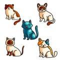 Cats color hand drawn illustrations set