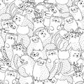 Funny cats black and white seamless pattern