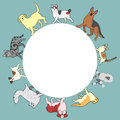 Cats And Dogs Circle Frame Wit...