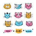 Cats faces, cat doodle. Hand drawn cats icons collection, Cartoon comic cute kittens. Vector illustration