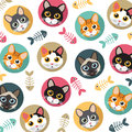 Cats and fishbone pattern Royalty Free Stock Photo
