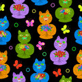 Cats with flowers seamless pattern